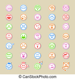 Large collection of round smiley icons or emoticons showing...