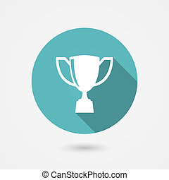 Trophy cup flat vector icon on a round blue frame conceptual...