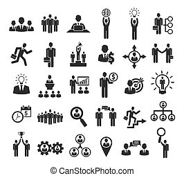 Business people icons: management, staff, conference and...