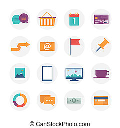 Modern flat icons vector collection, web design objects,...