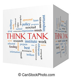 Think Tank 3D cube Word Cloud Concept with great terms such...
