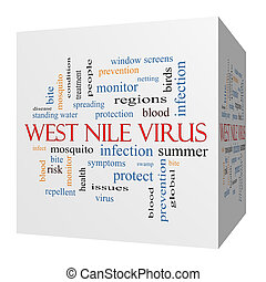West Nile Virus 3D cube Word Cloud Concept with great terms...
