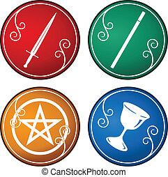 set of tarot symbol - set of colorful tarot symbol