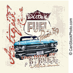 antique ride 1959 - vintage car vector for T-shirt printed...