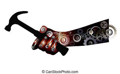 Hand holds a hammer - Hand Mechanism holds a hammer