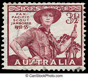 Stamp printed in Australia shows Pan-Pacific Scout Jamboree...