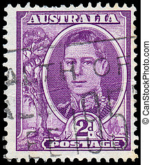 Stamp printed in Australia shows King George VI - AUSTRALIA...
