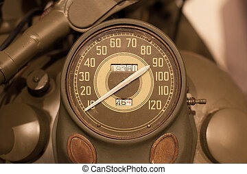 Old style of motorcycle speedometer, American army...