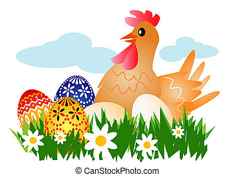 Hen with Easter Eggs - Hen on the meadow with Easter Eggs...