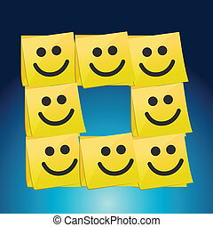 happy faces on a set of post it. illustration