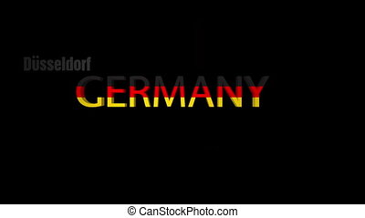 Germany Cities Word Cloud on Black - Three dimensional...