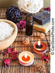 Spa with natural bath salt; candles; soap; towels and petals