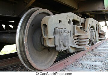 Train drive wheel - A close-up photo of Train drive wheel