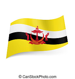 State flag of Brunei - National flag of Brunei: white and...
