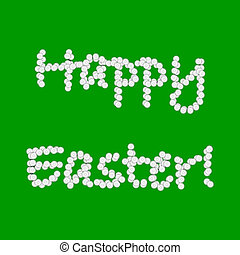 Colorful Easter background with words made from chamomile...
