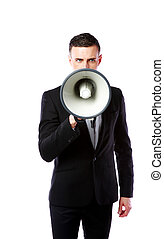 Handsome businessman with megaphone isolated on a white...