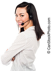Smiling young call center executive - Cheerful female call...