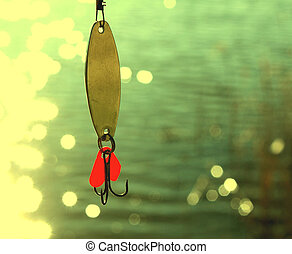fishing lures over water