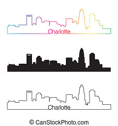 Charlotte skyline linear style with rainbow in editable...