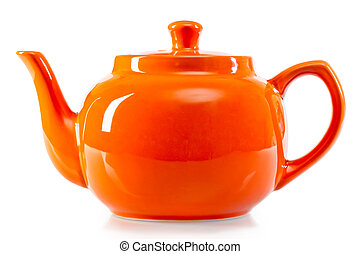bright orange teapot on a white background