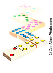 wooden dominos isolated on white background