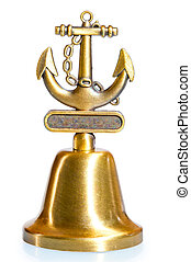 brass bell with nautical décor on white background