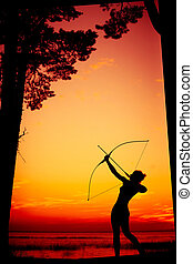 Archer at sunset - Aiming at goal archer