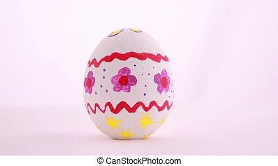 Easter egg isolated over white background Rotation 360