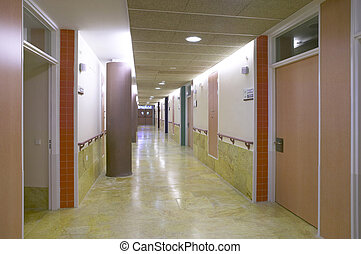 Hospital corridor with private medical offices Horizontal