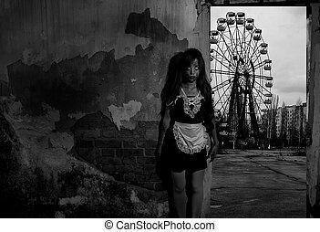 assustador, empregada, fantasma, história