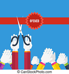 Grand opening - cutting red ribbon - Grand opening - hands...