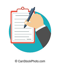 Businessman holding a clipboard and writing signature