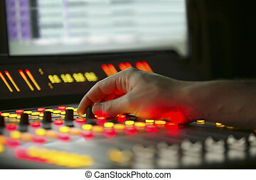 Mixing board table with controls. - Mixing board table with...