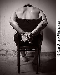 Torture man with tye hands. - Torture man with tye hands and...