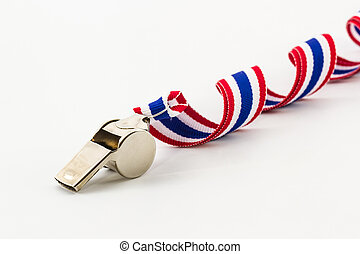 Metal Whistle and ribbon striped flag of thailand.