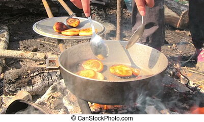 Cooking Pancake - Cooking pancake on the fire