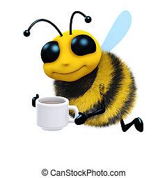 3d Tea break bee - 3d render of a bee with a cup of tea