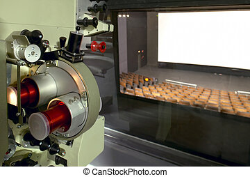 Cinema. Proyector cabin and theater screen.