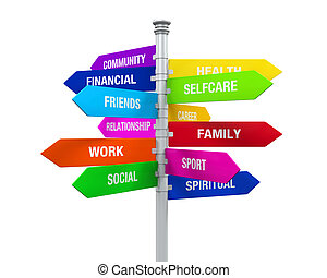 Life Balance Sign - Colorful Direction Sign of Life Balance...