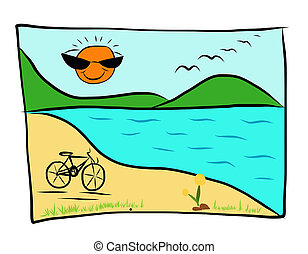 Simple drawings of sandy beach with bicycle