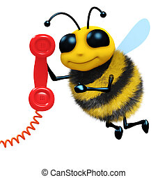 3d Telephone bee - 3d render of a bee answering the phone