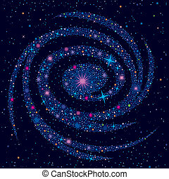 Cosmic Background With Galaxy - Vector illustration with...