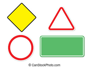 Blank traffic signs isolated on white background