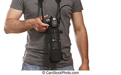 detail of photographer isolated