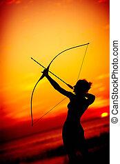 sexy, nue, archer, Coucher soleil
