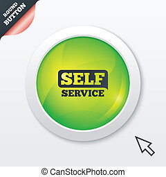 Self service sign icon Maintenance button Green shiny button...