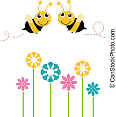 Cute beautiful bees with colorful flowers isolated on white...