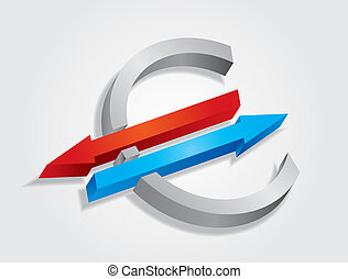 Abstract Euro sign with color arrows