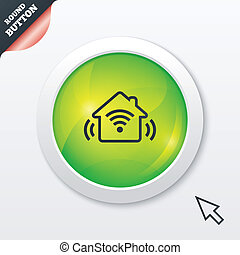 Smart home sign icon Smart house button Remote control Green...