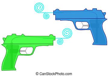 Water guns - istolated plastic water guns on white
